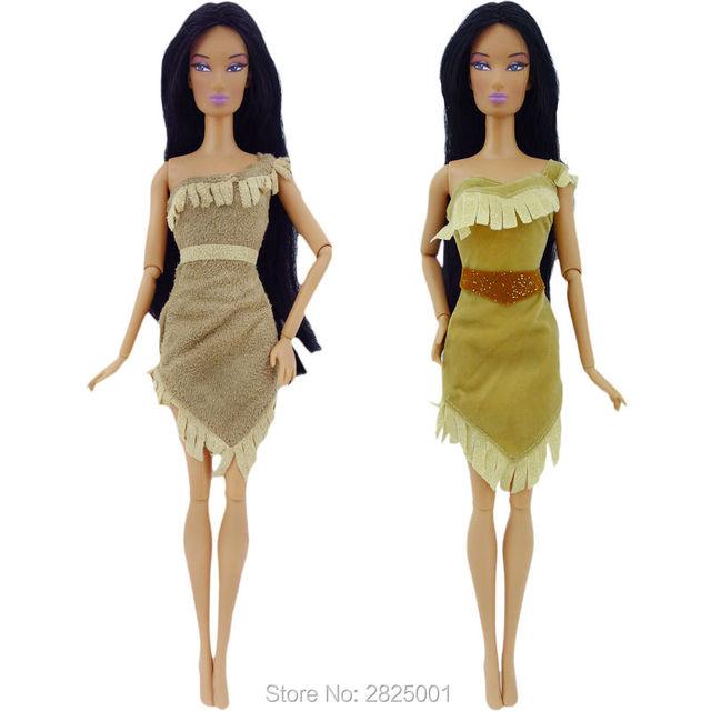 12cdbcfd2c 2x Roupas Exóticas Vestido de Conto de Fadas Da Princesa Pocahontas Traje  Copiar Mini Índio Vestido
