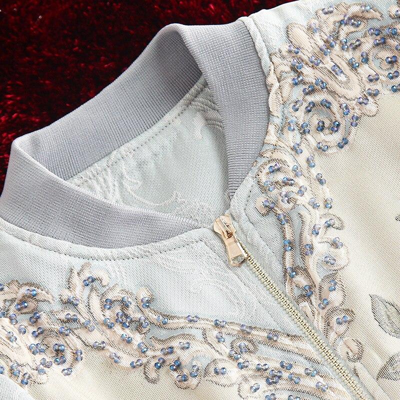 الأحمر RoosaRosee عالية الجودة مصمم أزياء سترة الخريف الشتاء النساء الأزهار طباعة الخرز أنيقة سترة قصيرة معطف أبلى-في السترات الأساسية من ملابس نسائية على  مجموعة 3
