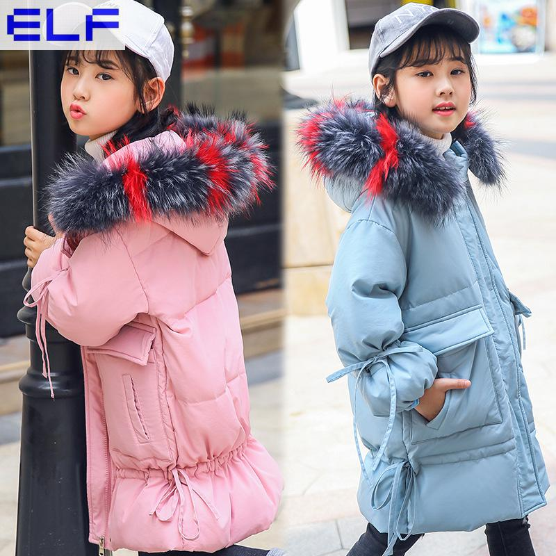 Kids Down Jacket Hooded Winter Warm Long Winter Jacket for Girls 2018 New Children Winter Coat Fur Collar Hooded 8 10 12 14 Year winter jacket female parkas hooded fur collar long down cotton jacket thicken warm cotton padded women coat plus size 3xl k450