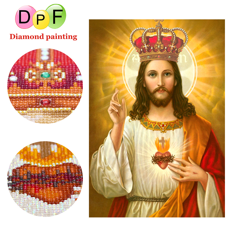 DPF 5d round full diamond painting cross stitch gift Religious needlework Special Shaped Diamond Embroidery arts crafts sewing