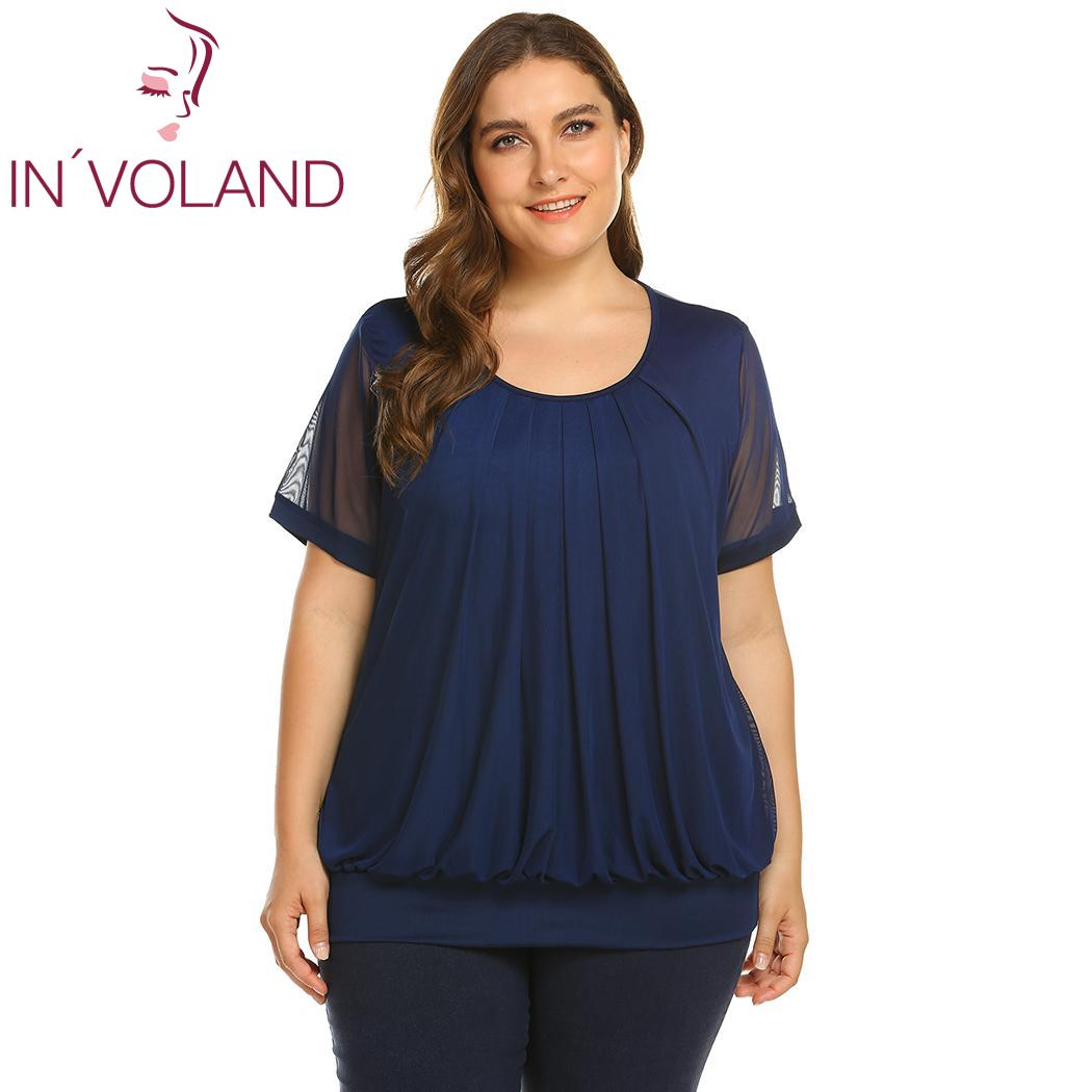 aa9f3e7595 IN VOLAND Women T Shirts Large size Loose Short Sleeve Scoop Neck Pleated  Front Women