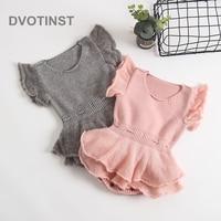 Dvotinst Newborn Baby Girls Clothes Knit Crochet Short Sleeve Bodysuits Solid Outfits Leotard Infant Toddler Jumpsuit Costume