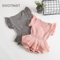 Dvotinst Newborn Baby Girls Clothes Knit Crochet Short Sleeve Bodysuits Solid Outfits Leotard Infant Toddler Jumpsuit Costume