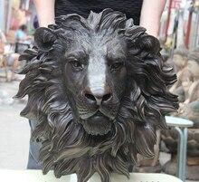 wholesale factory China Folk Bronze Copper Home Decoration Foo Dog Lion Head Mask Statue Sculpture