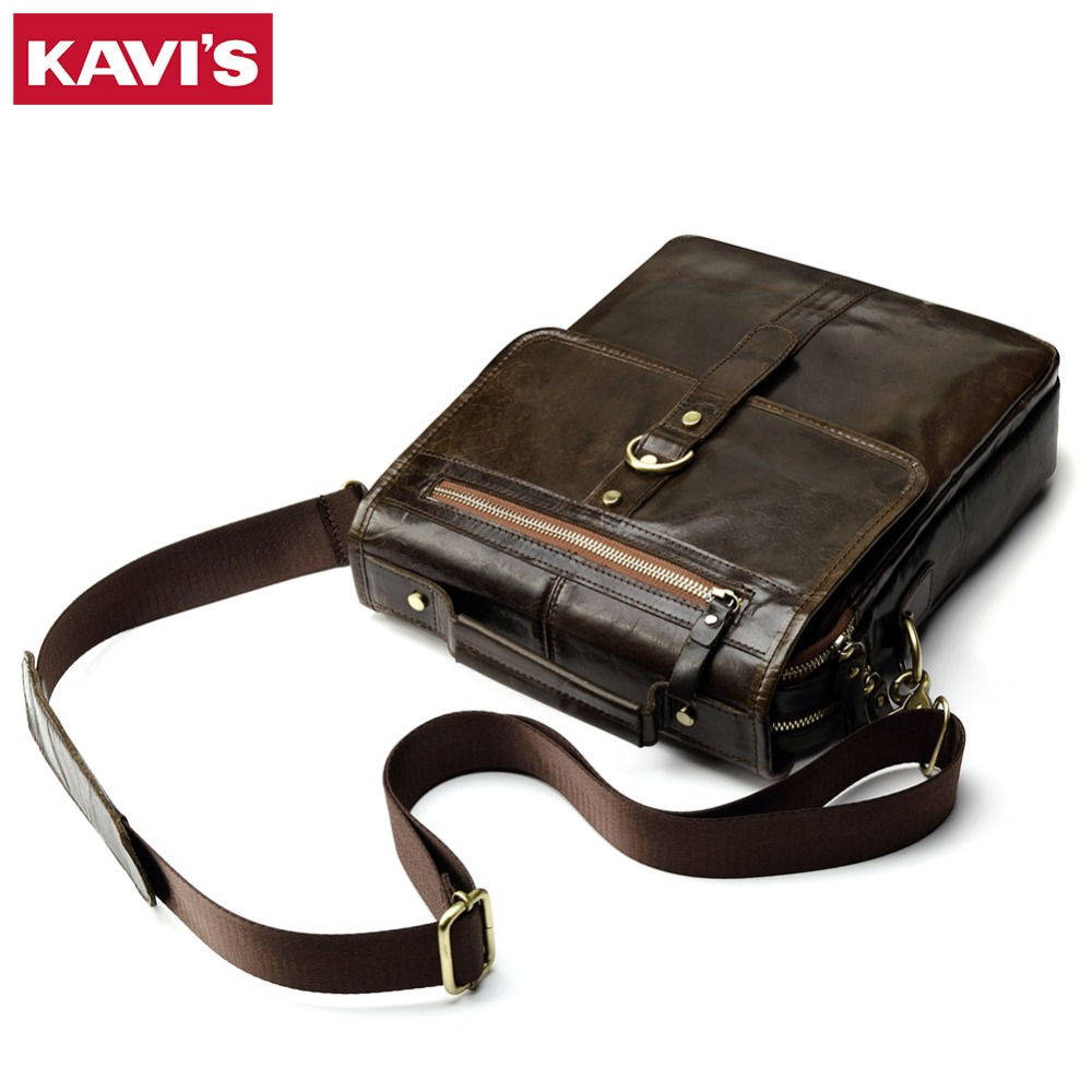 KAVIS 100% Cowhide Genuine Leather Original Messenger