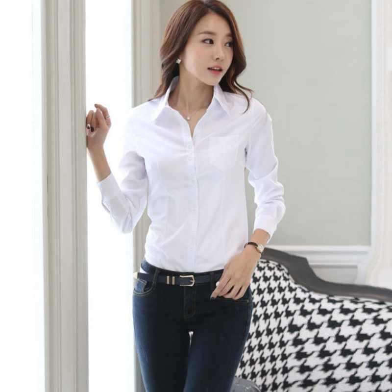 85f6201d89b 2018 Модные женские OL рубашка с длинным рукавом Turn-Down Воротник Кнопка  Леди Блузка Топы