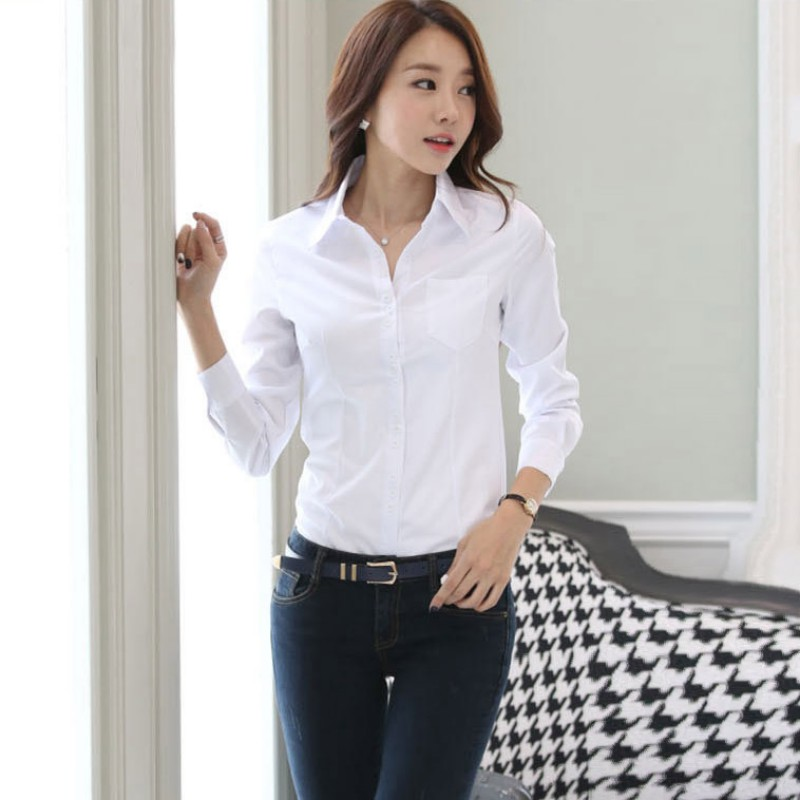 2019 Fashion Women's OL Shirt Long Sleeve Turn-down Collar Button Lady Blouse Tops White Black Short Sleeve