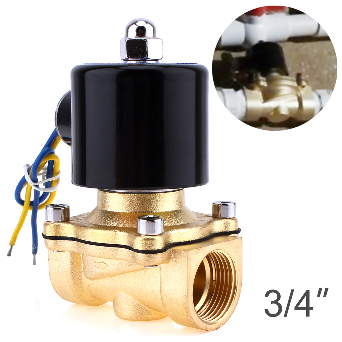 цена на Solenoid Valve DC 12V 1/4'' 3/8'' 3/4'' NPT N/C Brass Normally Closed Electric Valve for Water Oil Air Diesel-Gas Fuels