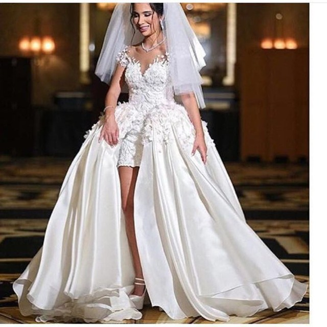 Hot African Wedding Gowns abito da sposa High Low Plus Size Muslim ...
