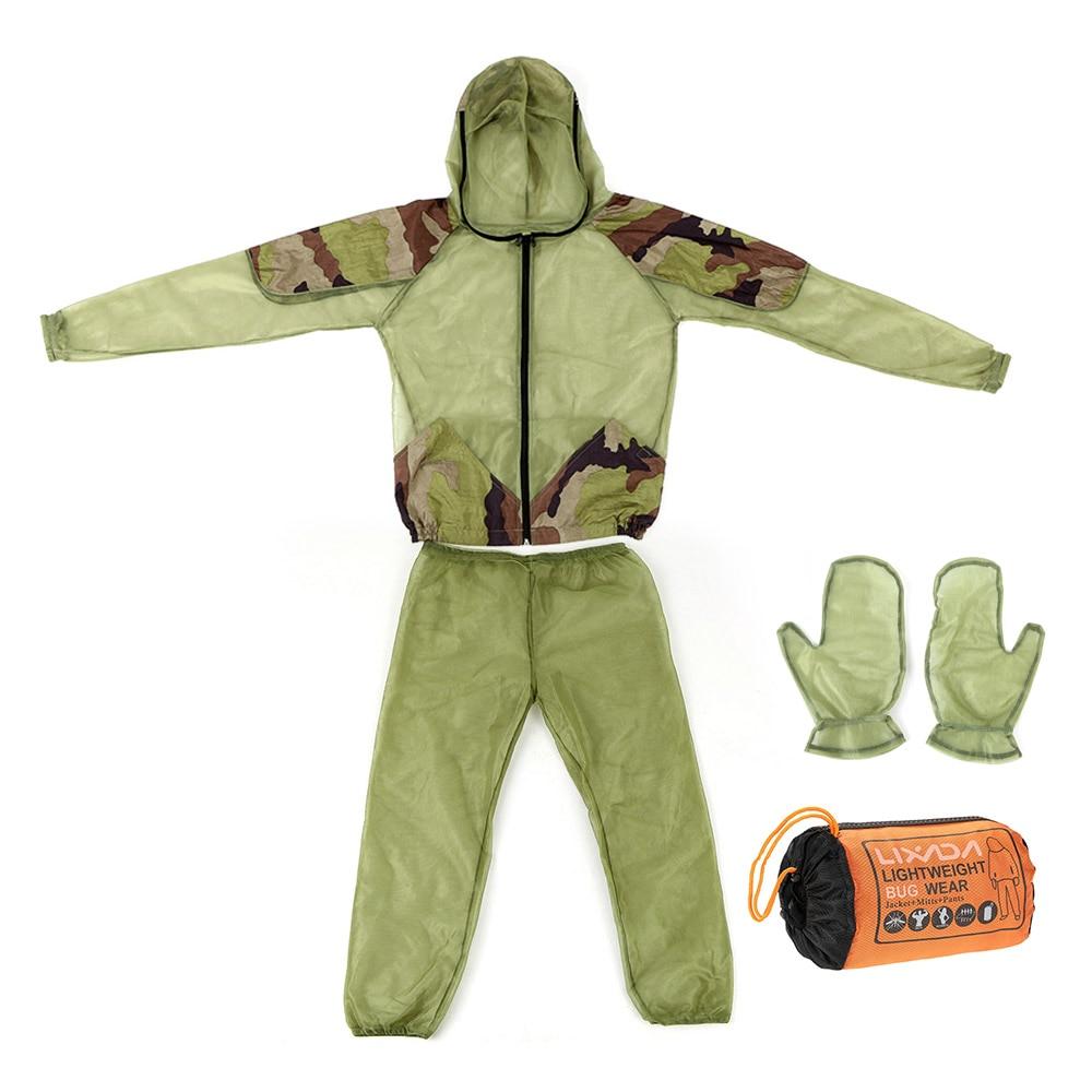 Lixada Vissen Clothings Vest Outdoor Muggenmelk Pak Bug Mesh Hooded Suits Jacht Camping Jas Mesh Shirt Handschoenen Aangename Zoetheid