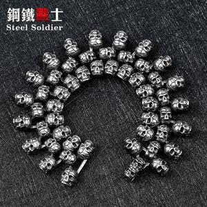 steel soldier gather skull biker men bracelet punk retro stainless steel jewelry(China)