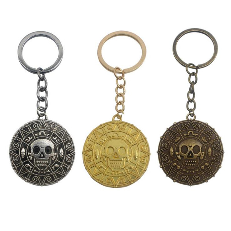 BOOCRE Movie Pirates of the Caribbean Cosplay Alloy Gold Keychain Pendant Accessories 3 Colors