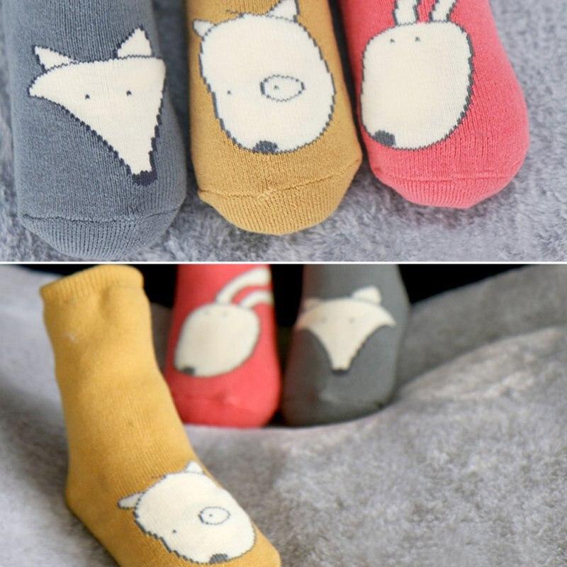 Унисекс носки с рисунками животных Собака лиса кролик для новорожденных одежда для малышей для девочек и мальчиков Нескользящие высокие Но...