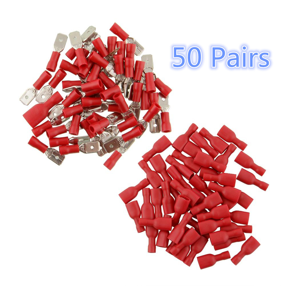 100 Pcs/Set Red 6.3mm 16-14AWG Female Male Insulated Crimp Terminal Spade Connectors Electrical Wiring Connector For Car