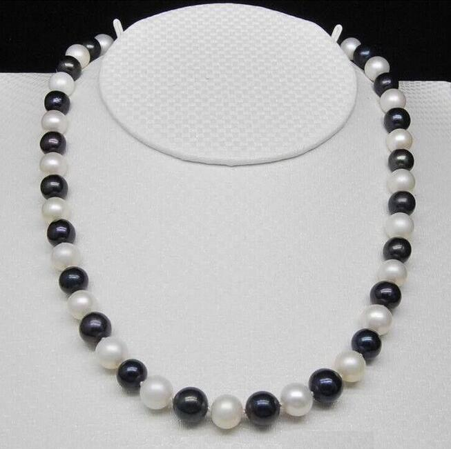 CHARMING 35 9-10MM NATURAL SOUTH BLACK WHITE PEARL NECKLACE YELLOW CLASPCHARMING 35 9-10MM NATURAL SOUTH BLACK WHITE PEARL NECKLACE YELLOW CLASP