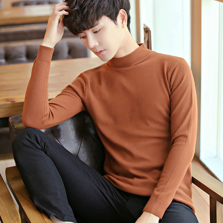 Autumn Winter Stand Collar Long Sleeve Solid Boys Sweaters Slim Brown Warm Sweater Male Knitwear Knitted Pullover Turtleneck Top