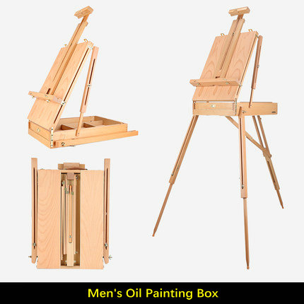Premium Beech Wooden Stand Folding Easel Box Sketch Oil Painting Easel For Painting italian red elm oil box new four feet easel multi function easel with oil painting box made by natural red ju wood