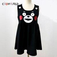 Coshome милые японские костюмы талисмана аниме kumamon жилет dress косплей костюм длинные dress прекрасный мультфильм медведь девушки black dress