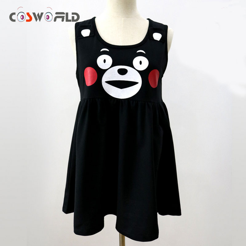 Coshome Cute Japanese Mascot Costumes Anime Kumamon Vest Dress Cosplay Costume Long Dress Lovely Cartoon Bear Girls Black Dress