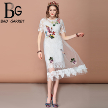 Baogarret Fashion Casual Holiday Summer Dress Women's Mesh Overlay Lace Hollow out Flower Embroidery White Elegant Dress