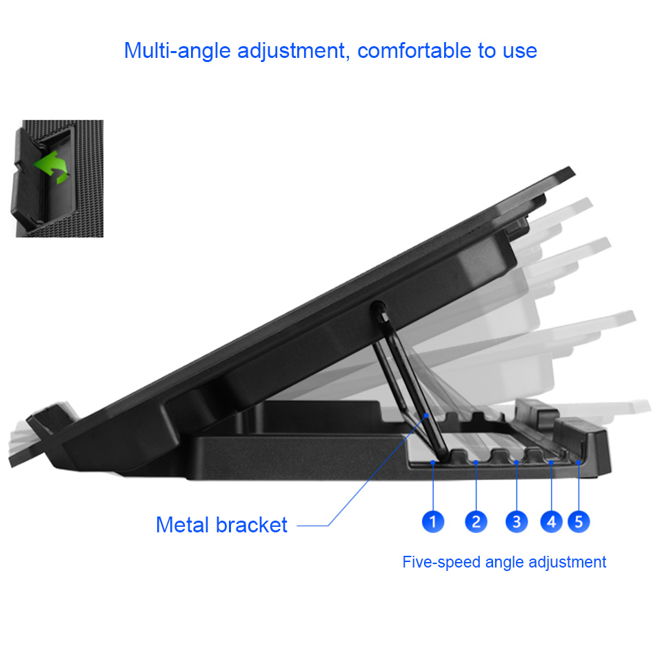 Image 3 - Laptop cooler 2 USB Ports and Two cooling Fan laptop cooling pad Notebook Stand for 12 15.6 inch for Laptop-in Laptop Cooling Pads from Computer & Office
