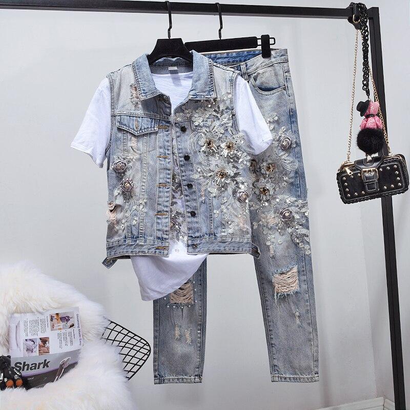 Pantalon Patch 2019 Nouveau CostumeFemmes Jean Floral De En Designs Automne Denim Jeu Top Pièces Costumes Arrivent 2 Veste sQChdxtr