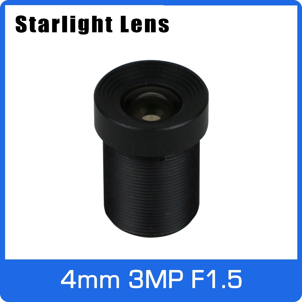 Starlight Lens 3MP 4mm Fixed Aperture F1.5 For SONY IMX290/291/307/327 Low Light CCTV AHD Camera IP Camera Free Shipping
