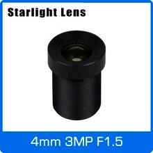 Объектив Starlight 3MP 4 мм Фиксированная диафрагма F1.5 для Sony imx290/291/307/327 низкой освещенности CCTV AHD Камера IP Камера Бесплатная доставка