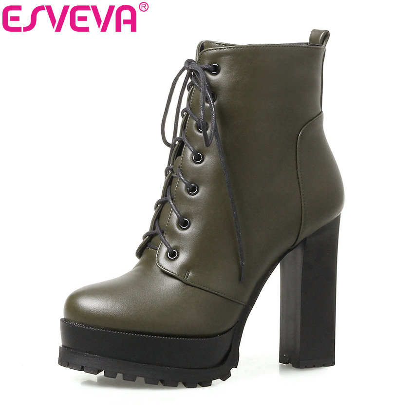 ESVEVA 2018 Women Boots Lace Up Platform Ankle Boots 2 Type Heels Thick /Thin High Heel Round Toe Lady Fashion Boots Size 34-39 new spring autumn women boots black high heels thick heel boots lace up platform ankle boots large size 34 43