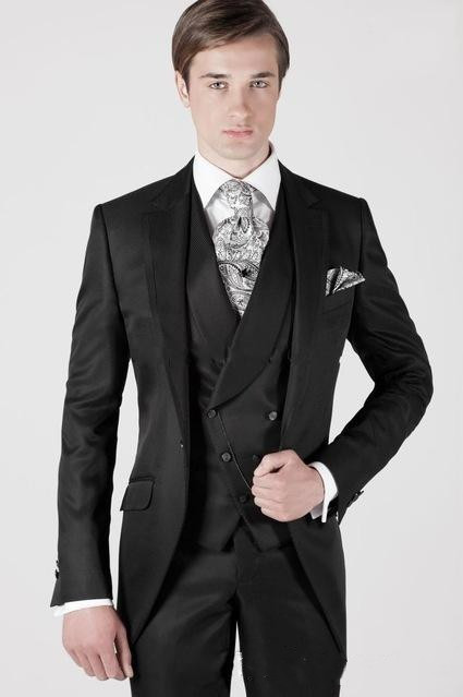 Classic Black Wedding Tuxedos Slim Fit Suits For Men Groomsmen Suit Three Pieces Prom Party Formal Men Suits(jacket-+pant+ Vest)