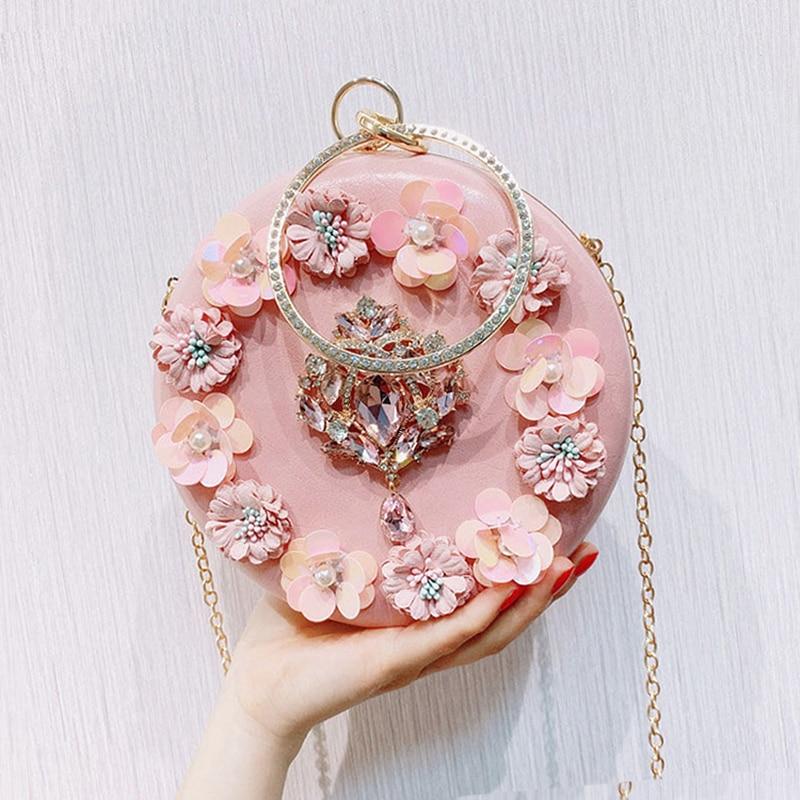 Sac de soirée pour femmes 2020 mode fleur cristal pochettes diamant sac à main de mariage avec perle chaîne sac sur l'épaule M1389