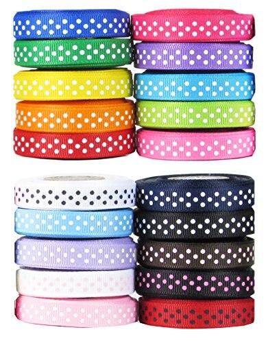 "Width Polka Dot Grosgrain Ribbon for Craft Dummy Clip Bow Making 10mm 3//8/"""