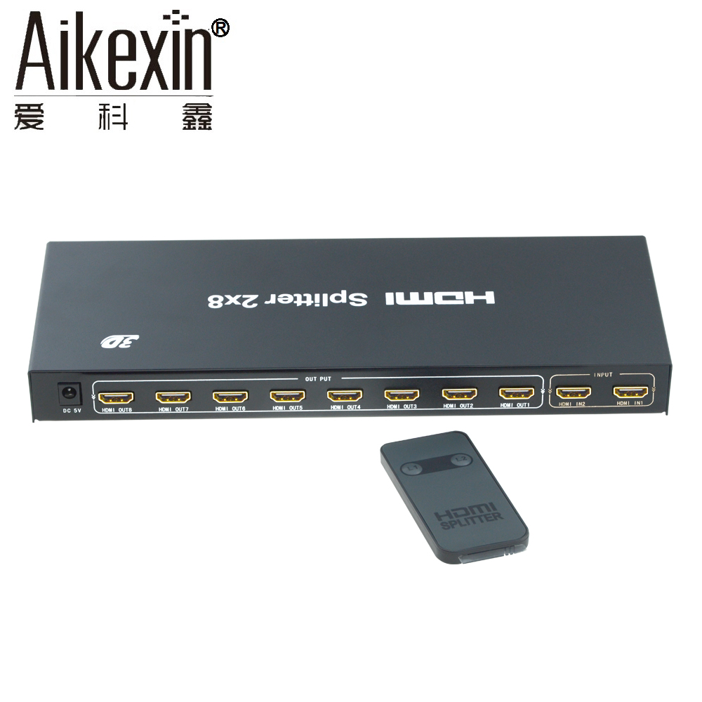 Aikexin 2x8 HDMI Switch Splitter 2 in 8 Out with IR Remote support Full HD 1080P 3D 2 input 8 output HDMI Splitter/HDMI Switcher hdmi splitter 2 port hdmi 2 0 full hd 2160p hdr extender 1x2 1 in 2 out 4kx2k 60hz support hdcp2 2 3d for pc dvr