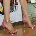 Mulheres de verão de bling plataforma tamanho 32 33 40 zipper sandals sexy bloco de cor rosa das mulheres banquete sapatos de salto alto sandálias