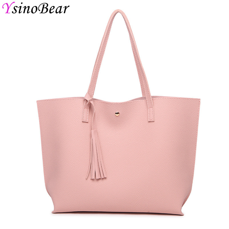 YsinoBear Fashion Women <font><b>Handbags</b></font> Tassel Shoulder Bags High Quality PU Leather Bag Lady Large Capacity Tote Pink Female <font><b>Handbag</b></font>