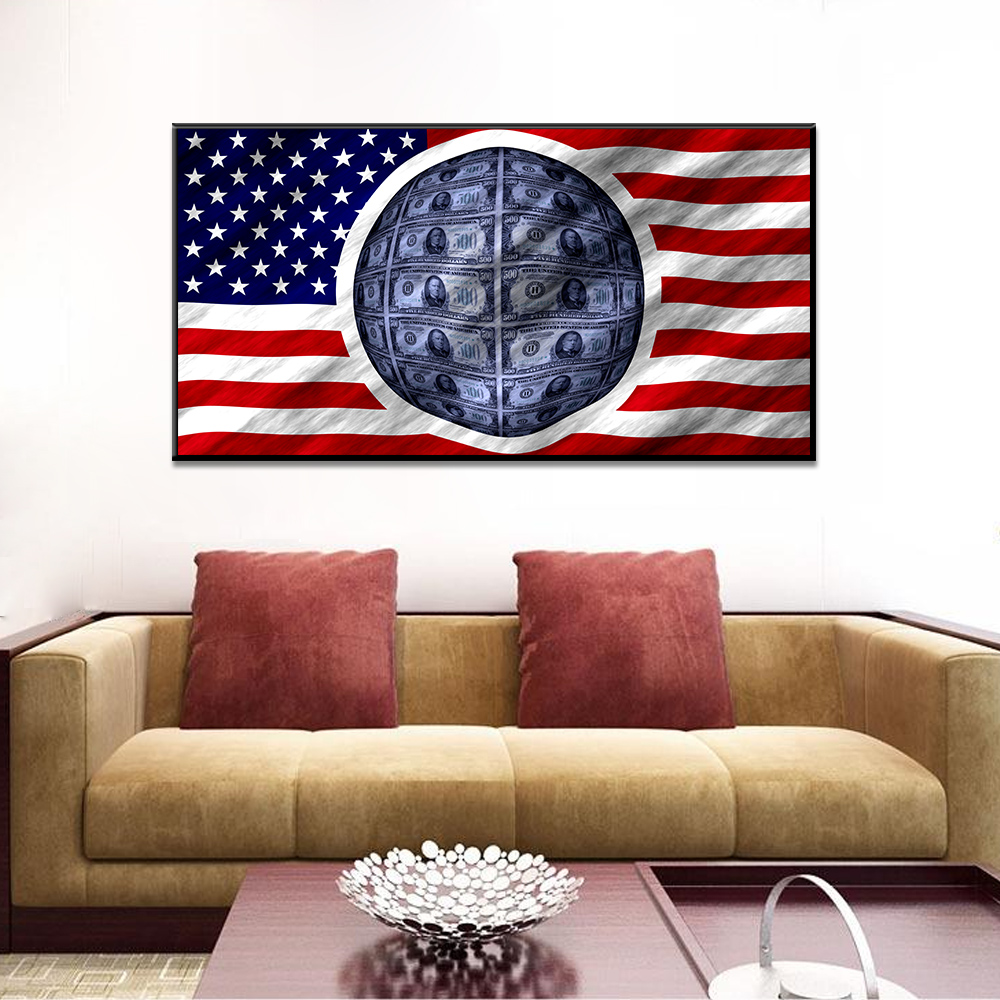 Unframed Art Canvas Painting American Flag Banner U.S. Dollars Prints Wall Pictures For Living Room Wall Art Decoration
