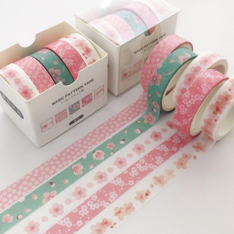 5 Pcs/pack Cherry Sakura Flower Washi Tape Set Decoration Sticker Scrapbooking Diary Masking Tape Stationery School Supplies