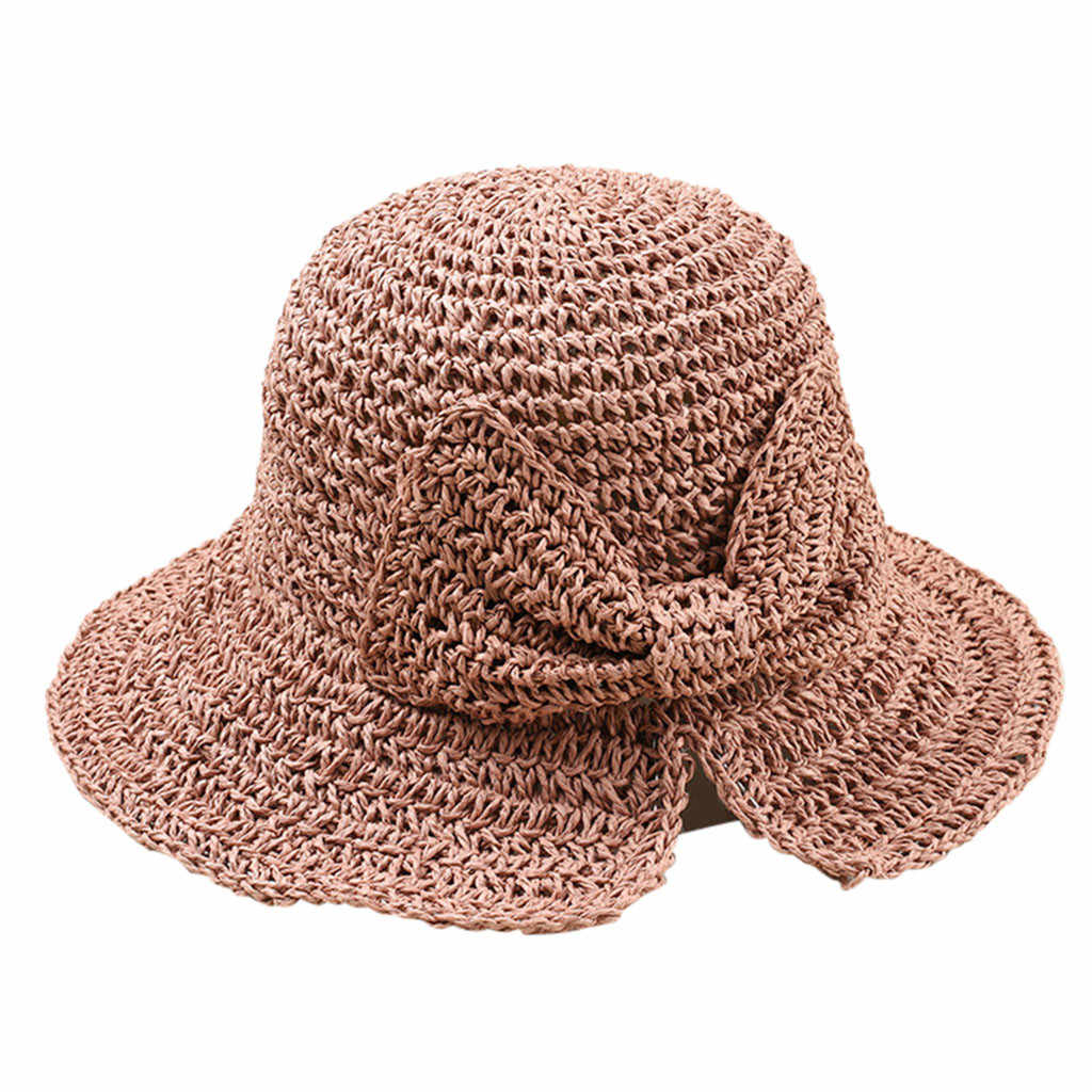 Mode Bast Bogen Sonne Hut Breite Krempe Floppy Sommer Hüte Für Frauen Strand Panama Stroh Dome Eimer Strand Hut Femme schatten Hut # p4