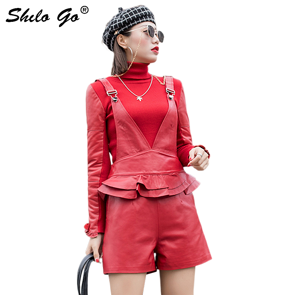 Streetwear Leather Playsuits Womens Elegant Deep V Neck Strap Ruffles Waist Sheepskin Genuine Leather Wide Leg Overalls Female