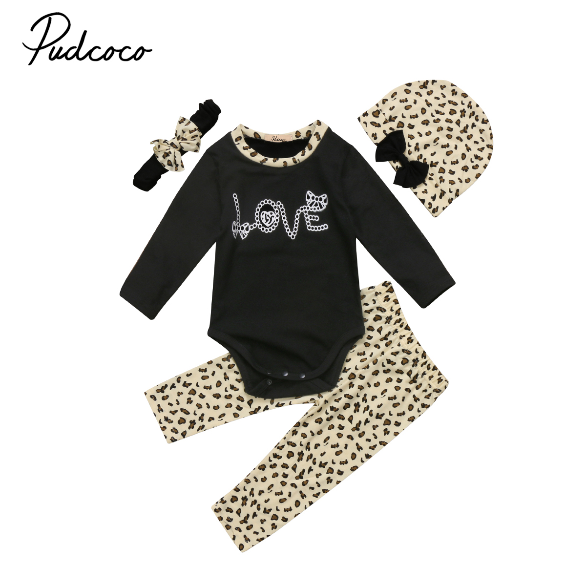 Toddler Clothinf Set Baby Girls Long Sleeve Bodysuit+Leopard Pants+Headband+Hat Clothes 4pcs Outfits Set 2pcs set newborn floral baby girl clothes 2017 summer sleeveless cotton ruffles romper baby bodysuit headband outfits sunsuit