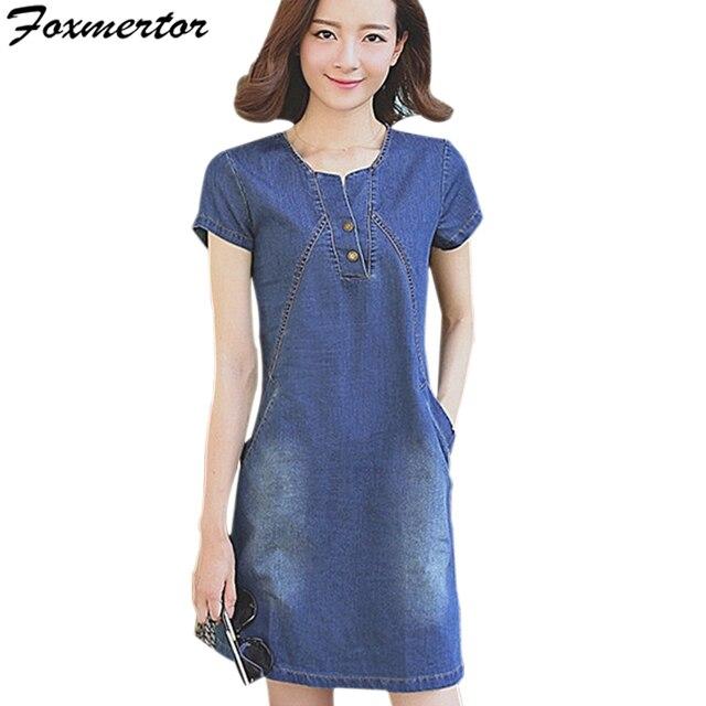 8d9cfebe456 New Fashion Women Denim Dress Summer Slim Bodycon Button Party Short Jeans  Female Clothing Vintage Blue Dresses Plus Size 3XL N6