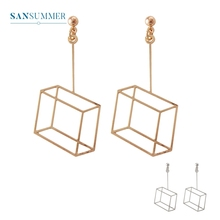 2017 New Hot 1PC Fashion Jewelry Form Sansummer Three-dimensional Square Hollow Simple Original Popular Casual Stud Earrings