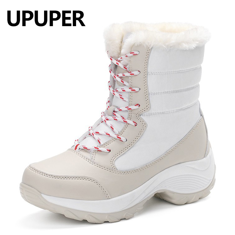 Winter Women Snow Boots Winter Warm Boots Thick Bottom Platform Waterproof Mid-calf Boots For Women Thick Fur Cotton Shoes 40 41