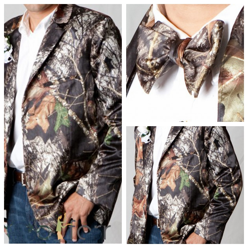 Full Camouflage Groom Satin Wedding Tuxedos Camo Notched Lapel Groomsmen Custom Formal Father Men Wear ( Only Jacket+Bowtie)