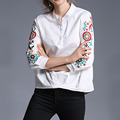 White Casual Irregular Tops Women Embroidery Three Quarter Sleeves Shirt Stand Collor Female Blouses 2017 Plicated Shirt