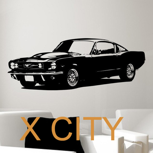 retro old school 1965 ford mustang muscle car bedroom wall art graphic sticker die cut vinyl