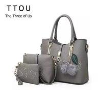 TTOU Women Fashion Handbag 3pcs Sets Embroidered Flower Ladies Handbags Floral PU Leather Shoulder Bag Tote Bags