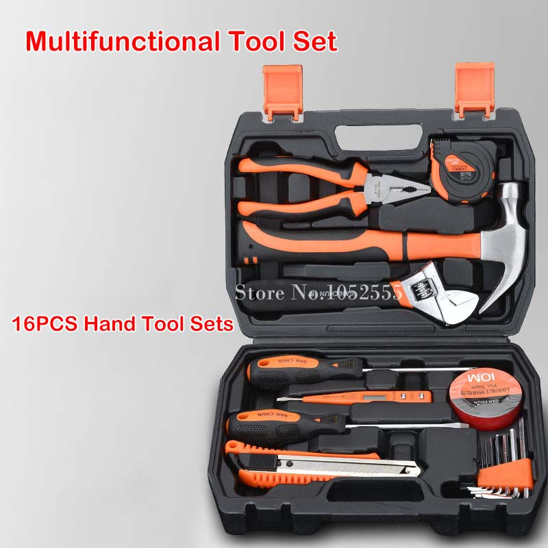 High Quality 16pcs/Set Multifunction Tool Kit Household tool set hardware tool maintenance electrician carpentry tools sets K74 82 sets of household tool set hardware kit box set without a flashlight