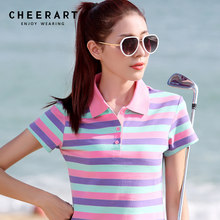 Plus Size M-4XL 100% Cotton Polo Shirt Women Summer Top Lady Striped Polo Raph Shirt Female Polo Femme Golf Shirt Clothing(China)