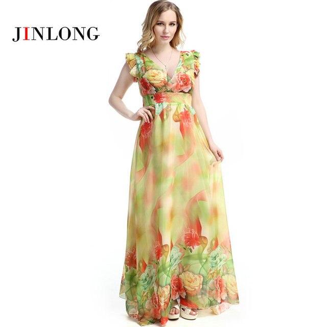 6abdead0898f46 R$ 173.65  Estilo Boho Mulheres Plus Size Maxi Vestido de Chiffon Estampado  Floral de Manga curta Vestido de Verão em Vestidos de Roupas das mulheres  ...